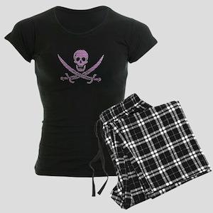 Purple Herringbone Bricks Calico Jack Skull Pajama