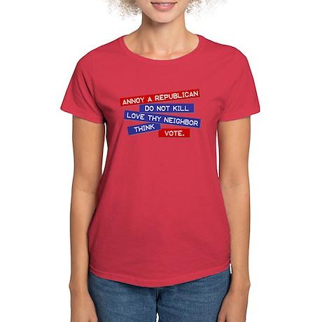 """Annoy a Republican"" Women's Dark T-Shirt"