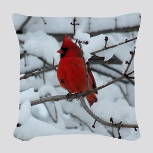 Snow Cardinal Woven Throw Pillow