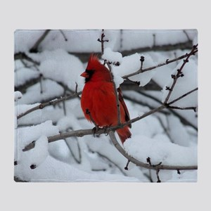 Snow Cardinal Throw Blanket