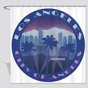 LA Hollywood round Shower Curtain