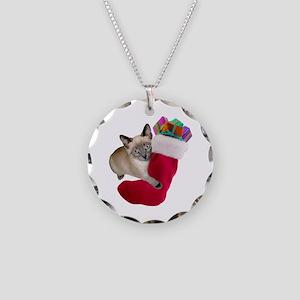Kitty Christmas Stocking Necklace Circle Charm