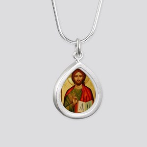 Christ the Teacher Silver Teardrop Necklace