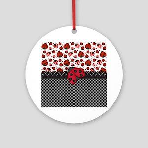 Ladybugs Round Ornament