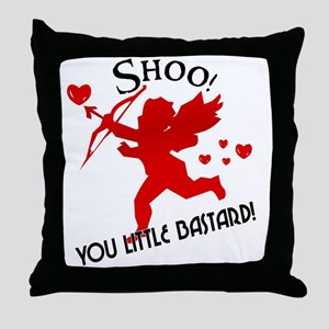 Shoo fly Cupid Anti-Valentine Throw Pillow