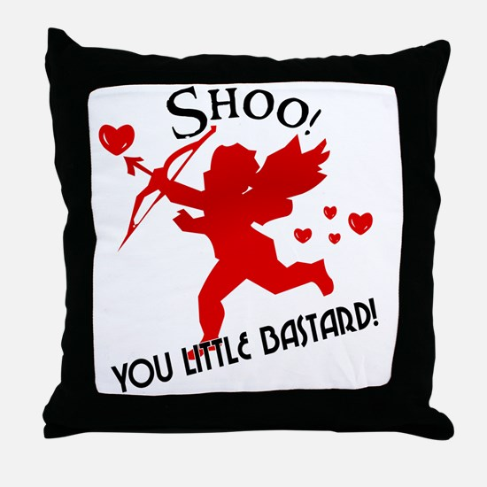 Shoo fly Cupid Anti-Valentine Throw Pillow