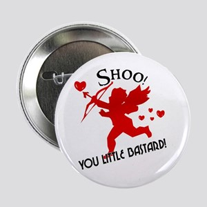 Shoo fly Cupid Anti-Valentine Button