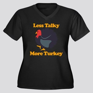 Less Talky M Women's Plus Size V-Neck Dark T-Shirt