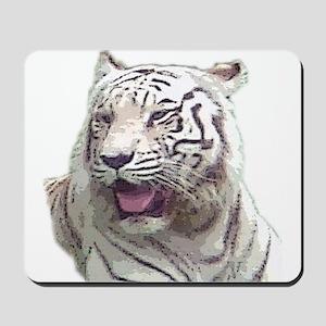 white tiger 4 Mousepad