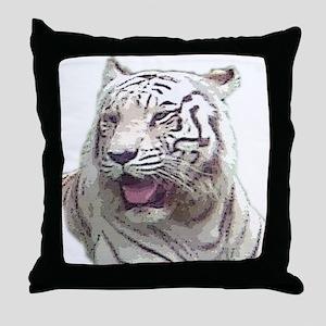 white tiger 4 Throw Pillow
