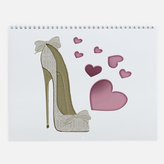 Stiletto And Pink Hearts Wall Calendar