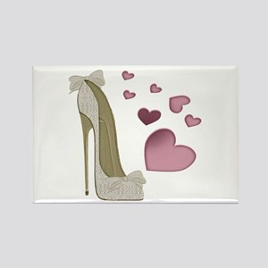 Stiletto And Pink Hearts Magnets