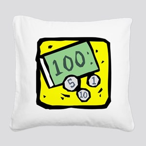 100 Dollar Bill Square Canvas Pillow