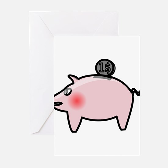 Piggy Bank Greeting Cards