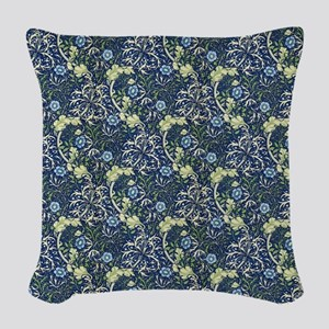 William Morris Blue Daisies Woven Throw Pillow