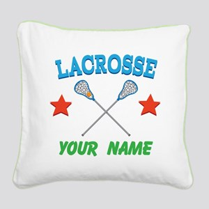 Lacrosse Personalized Star Square Canvas Pillow