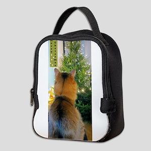 Cat And Christmas Tree Neoprene Lunch Bag