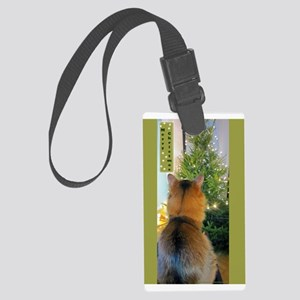 Cat And Christmas Tree Luggage Tag