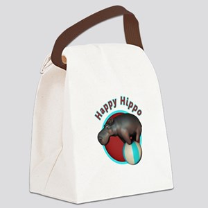 Happy Hippo Tumbler Canvas Lunch Bag