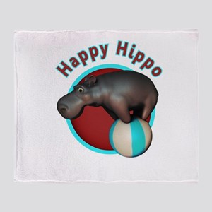 Happy Hippo Tumbler Throw Blanket