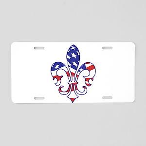 USA FLEUR DE LIS Aluminum License Plate