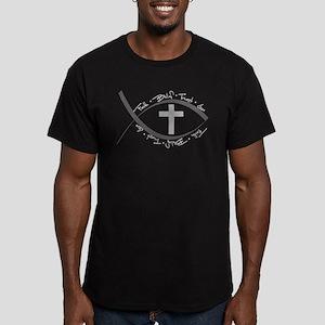 jesus fish_reverse Men's Fitted T-Shirt (dark)