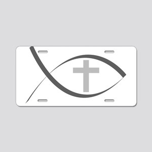 jesus fish_reverse Aluminum License Plate