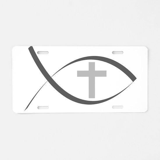 jesus fish_reverse.png Aluminum License Plate