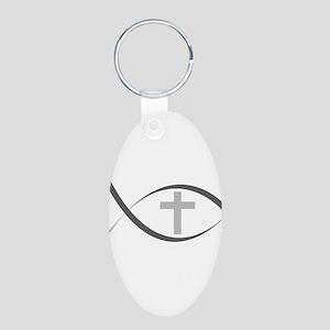 jesus fish_reverse Aluminum Oval Keychain