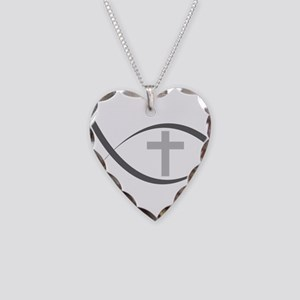 jesus fish_reverse Necklace Heart Charm