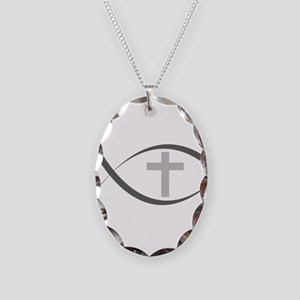 jesus fish_reverse Necklace Oval Charm