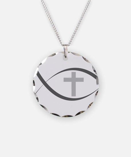 jesus fish_reverse.png Necklace Circle Charm