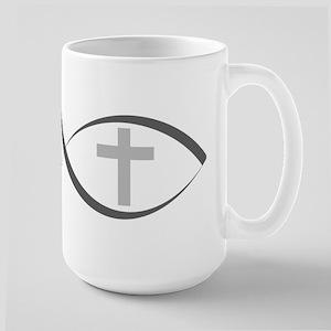 jesus fish_reverse Large Mug