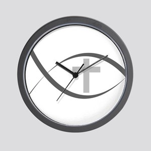 jesus fish_reverse.png Wall Clock