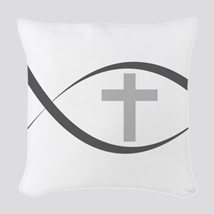 jesus fish_reverse Woven Throw Pillow