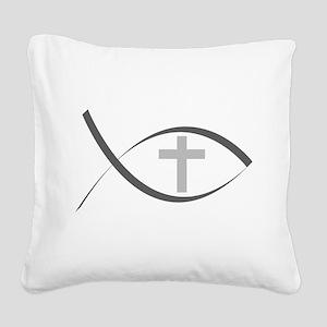 jesus fish_reverse Square Canvas Pillow