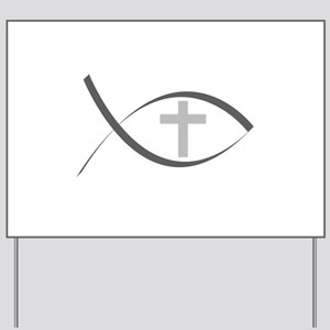 jesus fish_reverse Yard Sign