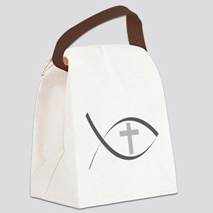 jesus fish_reverse Canvas Lunch Bag