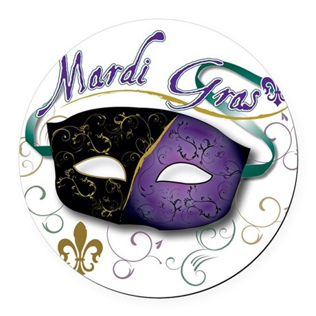 mardi Gras Round Car Magnet