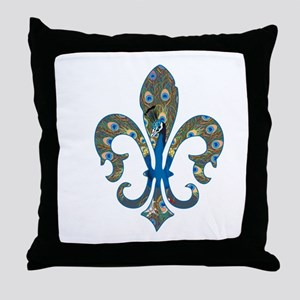 Peacock Fleur 1 Throw Pillow