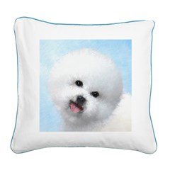 Bichon Frise Square Canvas Pillow