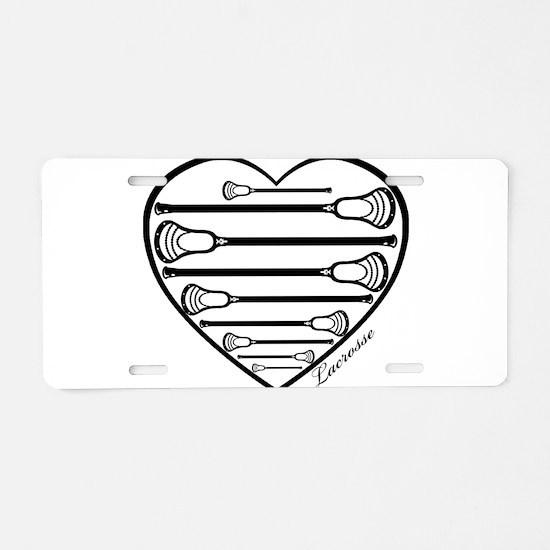 Lacrosse_HeartSticks.png Aluminum License Plate
