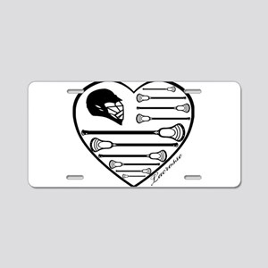Lacrosse_HeartHelmFlag Aluminum License Plate