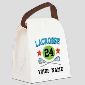 Lacrosse Player Personalized Canvas Lunch Bag
