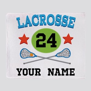 Lacrosse Player Personalized Throw Blanket