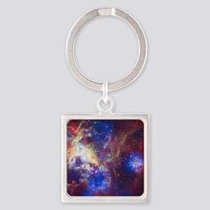 Colorful Space Square Keychain
