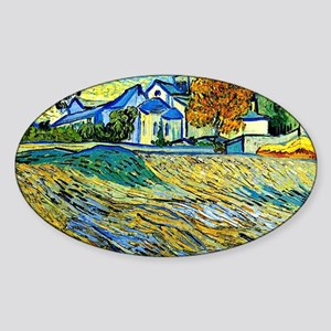 Van Gogh: View of the Church of St. Sticker (Oval)