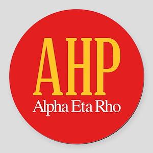 Alpha Eta Rho Letters Round Car Magnet