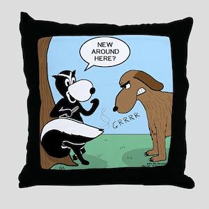 Dog Meets Skunk Throw Pillow
