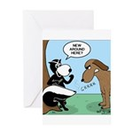 Dog Meets Skunk Greeting Card
